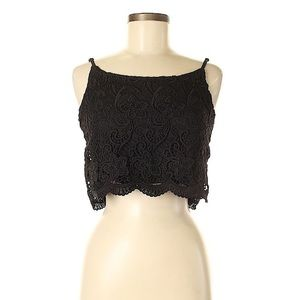 Divided by H&M Black Lace Spaghetti Strap Crop Top